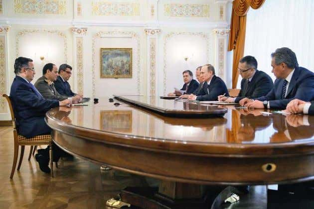 Meeting between Russian President Vladimir Putin and Egyptian President Abdel Fattah el-Sisi, Novo-Ogaryovo, Russia,