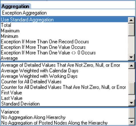 key figures in the Business Explorer Query Designer: Possible exception aggregation settings in the Query