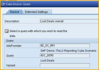 contains information on 'lost deals' per customer. Query as a source in the Analysis Process Designer