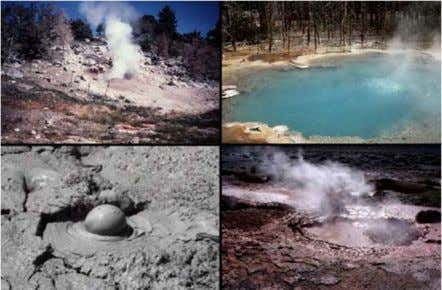 Hot water and steam reaching surface of earth (mud/hot springs)