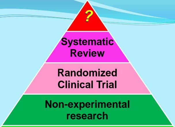 ? Systematic Review Randomized Clinical Trial Non-experimental research