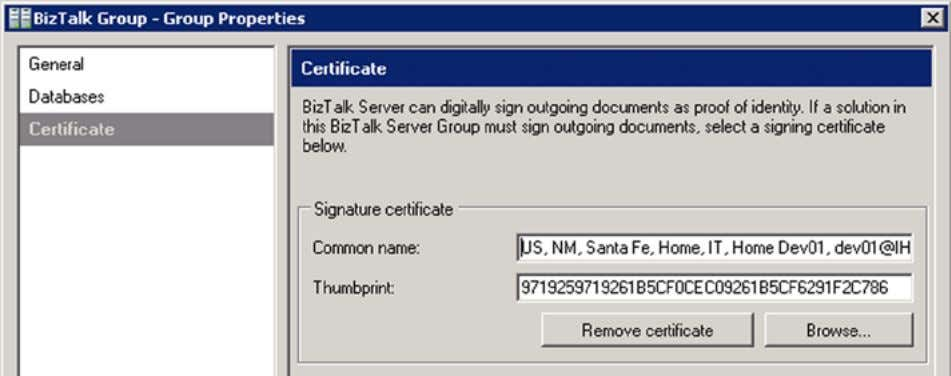 will be your primary certificate used to sign outbound data. Figure 5-8. Configuring the Certificate at