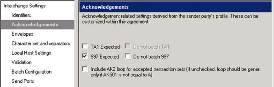 a checkbox next to 997 Expected, as shown in Figure 5-14 . Figure 5-14. The Acknowledgement