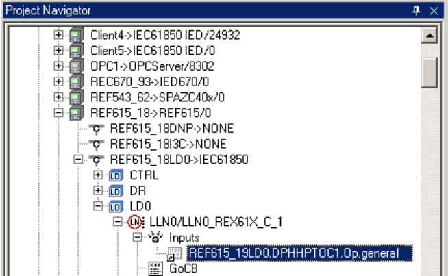 submenu under LD0/LLN0/Inputs in the receiving IED. GUID-B20F09F5-0917-4990-8AF3-002B2D875B8C V1 EN Figure 17: