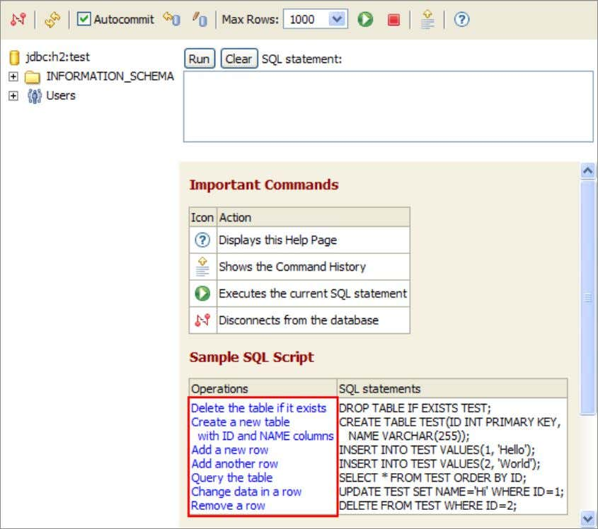 Sample Click on the [Sample SQL Script]: The SQL commands appear in the command area. 14