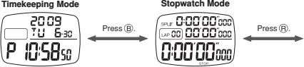 Timekeeping Mode Stopwatch Mode Press . Press .