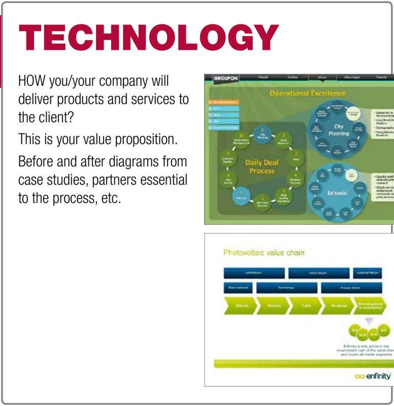 technOlOgy HOW you/your company will deliver products and services to the client? This is your value