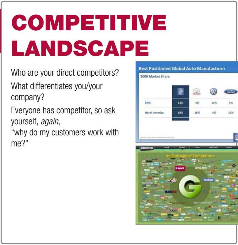 cOMPetitive lanDscaPe Who are your direct competitors? What differentiates you/your company? Everyone has competitor, so ask