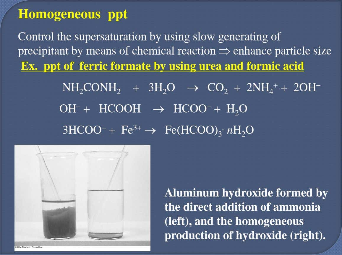 Homogeneous ppt Control the supersaturation by using slow generating of precipitant by means of chemical