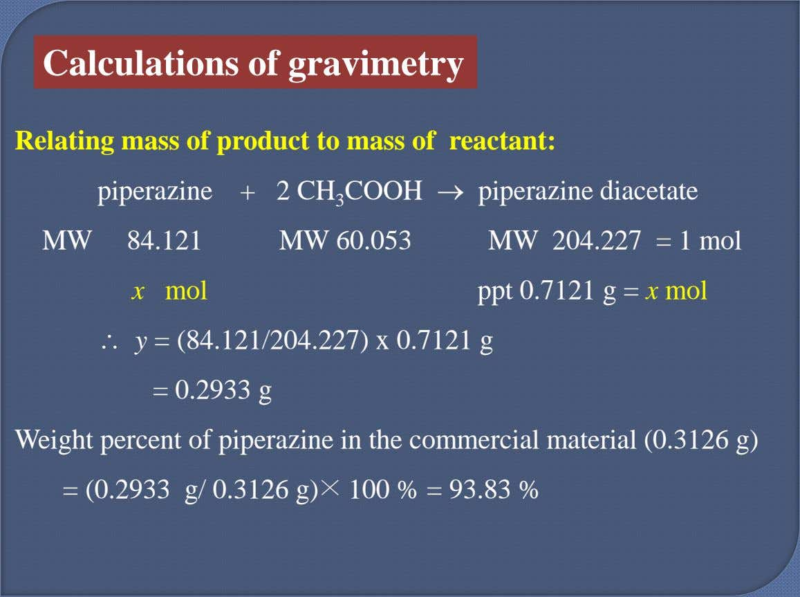 Calculations of gravimetry Relating mass of product to mass of reactant: piperazine + 2 CH