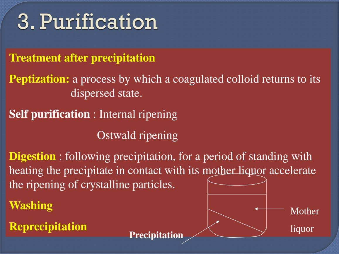 3. Purification Treatment after precipitation Peptization: a process by which a coagulated colloid returns to