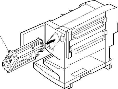 ! x 1). G130I541.WMF 12. Install the stapler unit [A]. [A] 13. Turn the knob [B]