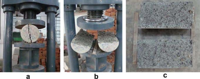 specimen in UTM and (b) tested specimen of flexural test. Fig. 2. Splitting tensile test on