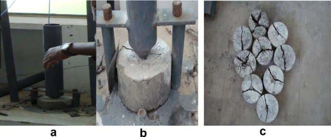 in CTM and Fig. 3 (c) tested specimen of split tensile. Fig. 3. Impact resistance test
