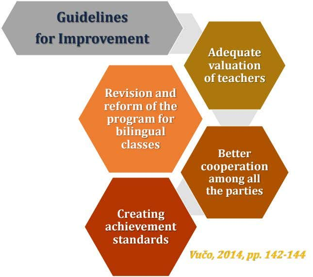 Guidelines for Improvement Adequate valuation of teachers Revision and reform of the program for bilingual classes