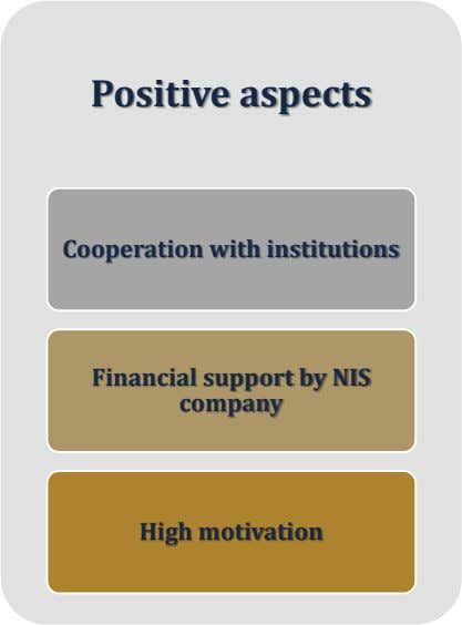 Positive aspects Cooperation with institutions Financial support by NIS company High motivation