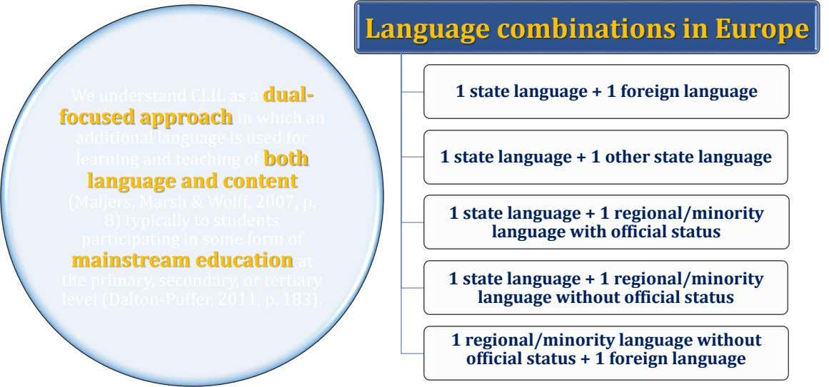 Language combinations in Europe 1 state language + 1 foreign language We understand CLIL as a