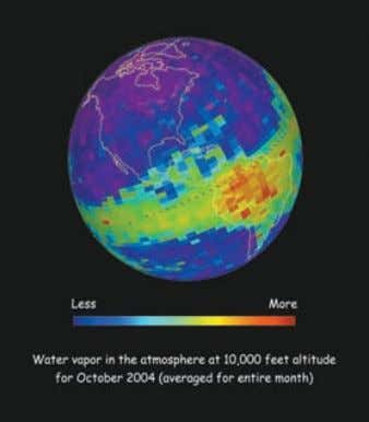 with the National Aeronautics and Space Administration. Water vapor measurements from the TES instrument show that