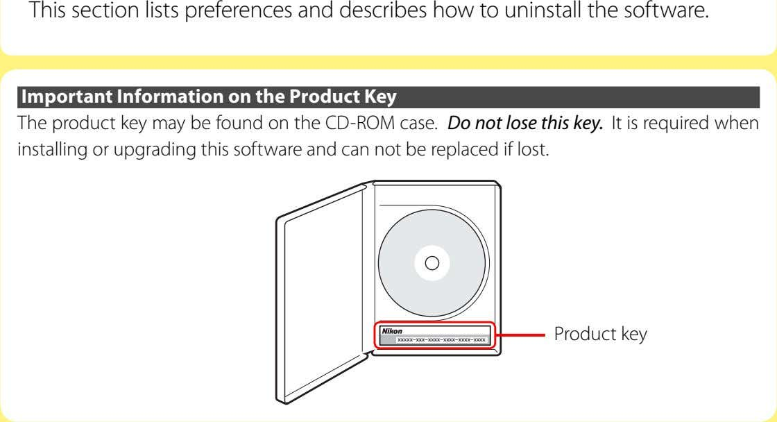 This section lists preferences and describes how to uninstall the software. Important Information on the