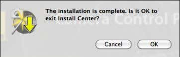 4 Click OK and remove the installer CD from the CD-ROM drive. This completes installation of