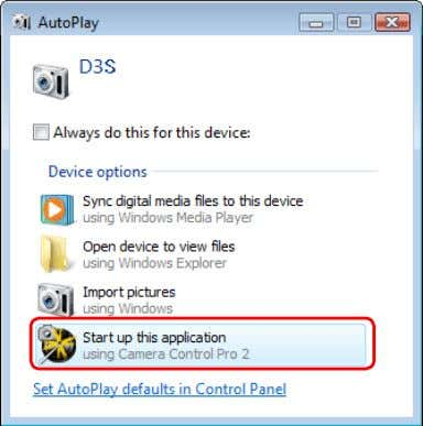 a Windows XP computer, an AutoPlay dialog may be displayed. Select the Camera Control Pro option