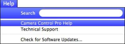 select Camera Control Pro Help from the Help menu. Windows Mac OS Return to first page
