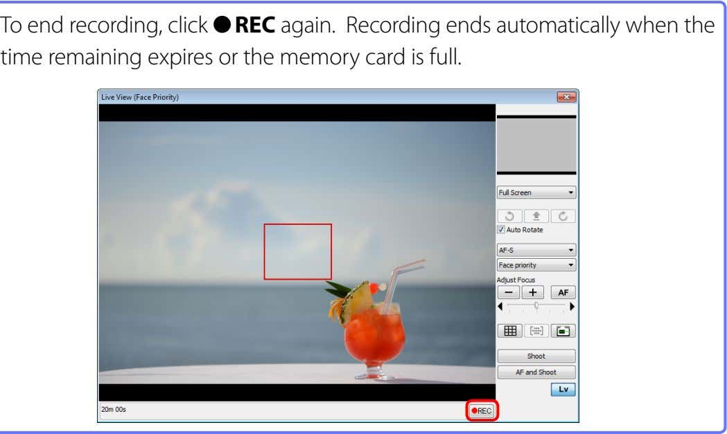 To end recording, click ● REC again. Recording ends automatically when the time remaining expires