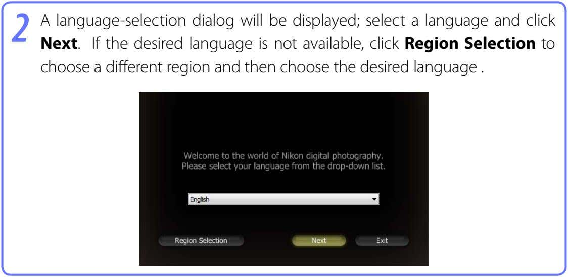 2 A language-selection dialog will be displayed; select a language and click Next. If the