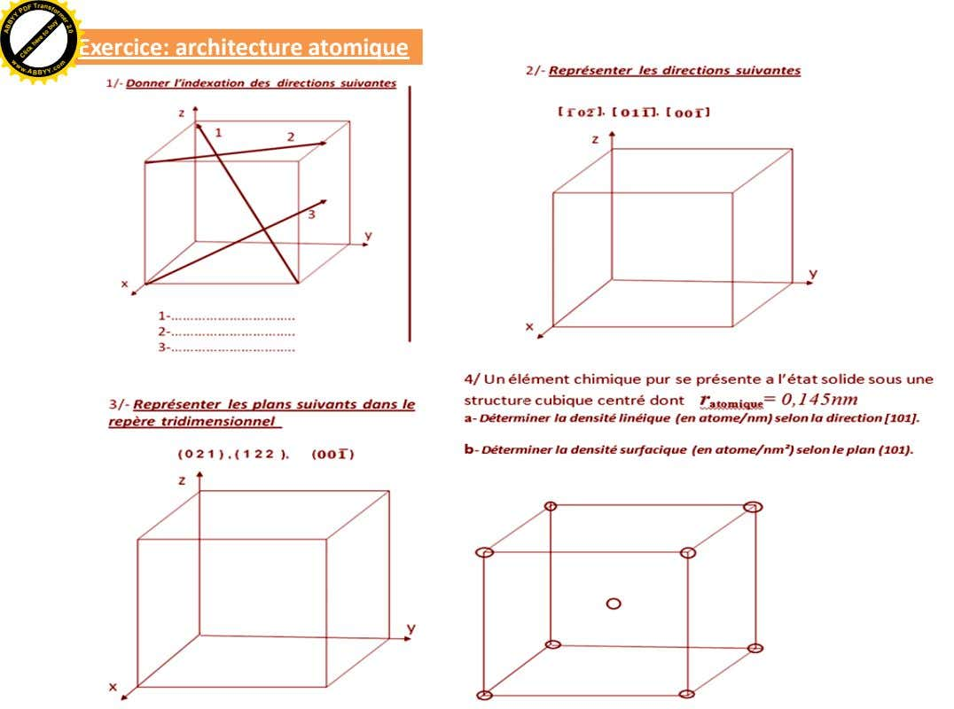 a r n T s Exercice: architecture atomique F f B B o A D