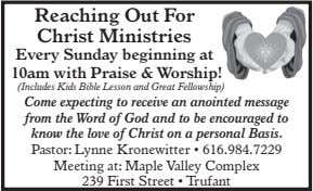 Reaching Out For Christ Ministries Every Sunday beginning at 10am with Praise & Wo rship!