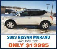 2003 NISSAN MURANO 4wd, local trade. ONLY $13995