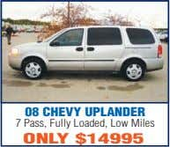 08 CHEVY UPLANDER 7 Pass, Fully Loaded, Low Miles ONLY $14995
