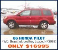 06 HONDA PILOT 4WD, Beautiful, Leather, Loaded (P3038) ONLY $16995
