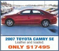 2007 TOYOTA CAMRY SE Leather and loaded. ONLY $17495