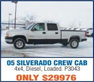 05 SILVERADO CREW CAB 4x4, Diesel, Loaded. P3043 ONLY $29976