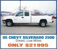 05 CHEVY SILVERADO 2500 Diesel, Low Miles ONLY $21995