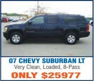 07 CHEVY SUBURBAN LT Very Clean, Loaded, 8-Pass ONLY $25977