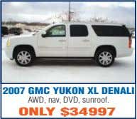 2007 GMC YUKON XL DENALI AWD, nav, DVD, sunroof. ONLY $34997
