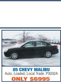 05 CHEVY MALIBU Auto, Loaded, Local Trade. P3032A ONLY $6995