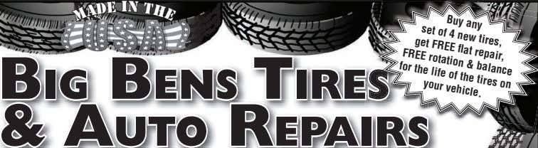 E H set Buy any of 4 new tires, get FREE flat repair, T &