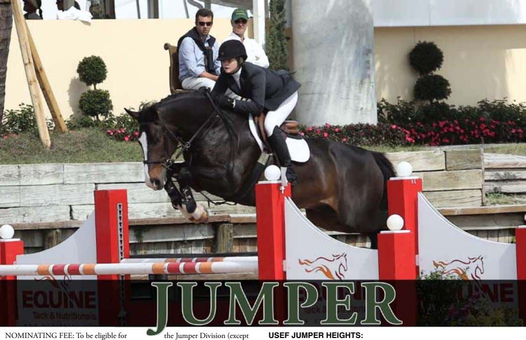 NOMINATING FEE: To be eligible for the Jumper Division (except USEF JUMPER HEIGHTS: