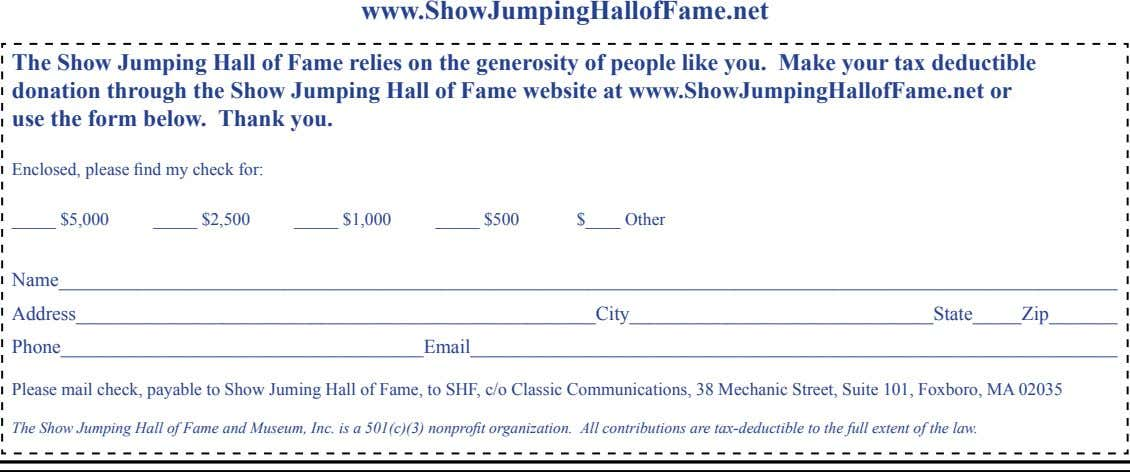 www.ShowJumpingHallofFame.net The Show Jumping Hall of Fame relies on the generosity of people like you.
