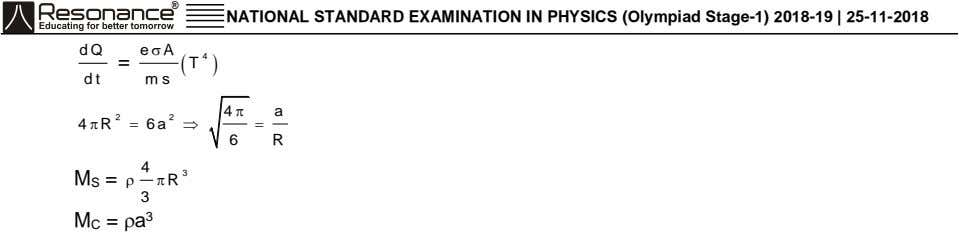 ® NATIONAL STANDARD EXAMINATION IN PHYSICS (Olympiad Stage-1) 2018-19 | 25-11-2018 dQ e  A