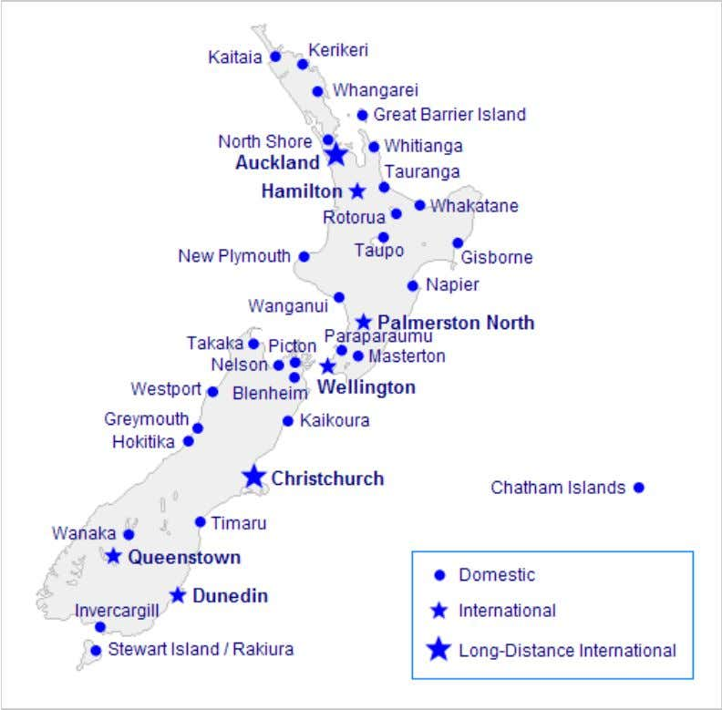 Map of airports in New Zealand with scheduled air services.