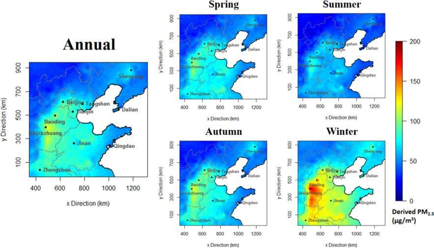 Environmental Science & Technology Article Figure 5. Annual and seasonal mean estimations of the PM 2