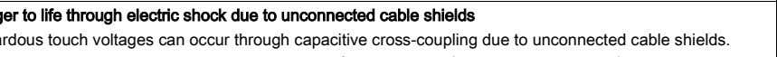 cable shields Hazardous touch voltages can occur through capacitive cross-coupling due to unconnected cable shields.