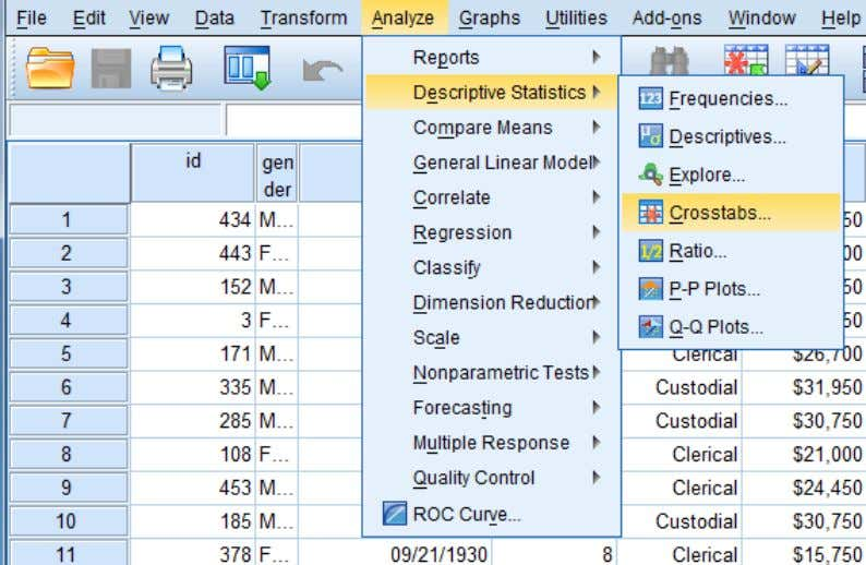 Specify a row variable and a column variable. Click on Analyze -> Descriptive Statistics -> Crosstab