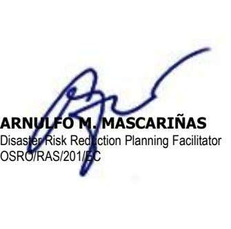 ARNULFO M. MASCARIÑAS Disaster Risk Reduction Planning Facilitator OSRO/RAS/201/EC