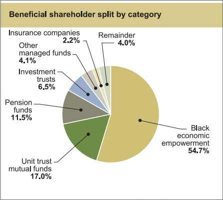 Investor relations report continued Top 20 shareholders   Number of % holding of shares in issue