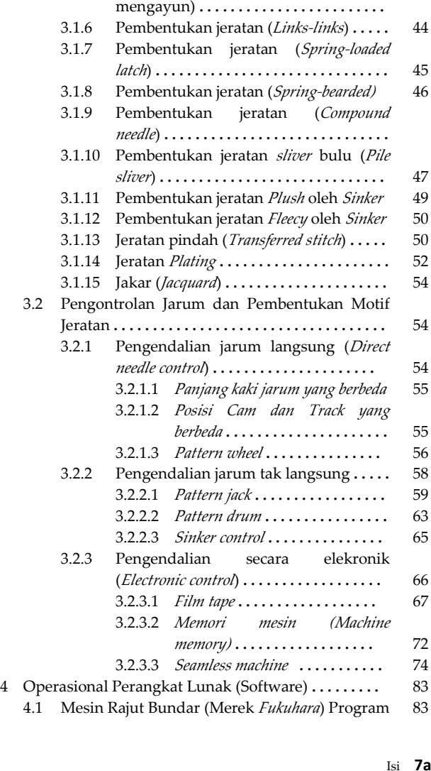 mengayun) . 3.1.6 Pembentukan jeratan (Links-links) . 44 3.1.7 Pembentukan jeratan (Spring-loaded latch) . . .